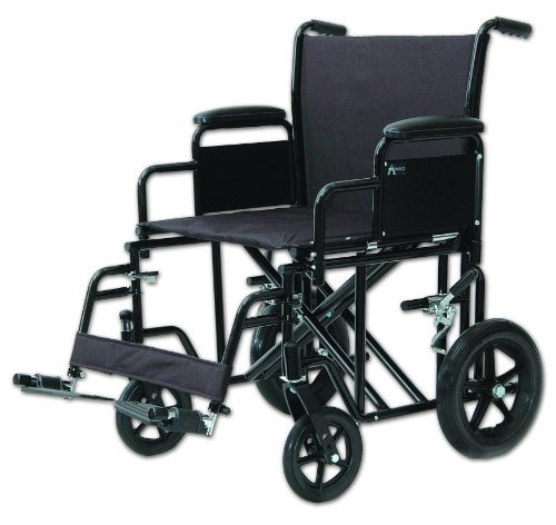 Heavy Duty Transport Chair Red/20 in. seat to floor/400 lb./Oversized - Heavy Duty Transport Chair