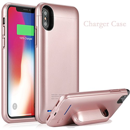iPhone X Battery Case,4000mAh Battery Pack Charger Case for iPhone X Extended Portable Battery Charging Case with Invisible Metal Plate Build-in, Work with Magnetic Car Mount (Rose (Car Charger Pink Case)