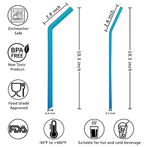 Evalasting Reusable Silicone Straws for Hot or Cold Beverages- FDA Approved Food Grade Silicone, BPA Free - Contains: 4 Thin + 4 Large Long Straw Fits 30 oz Tumbler + Cleaning Brush + Travel Pouch by Evalasting (Image #2)