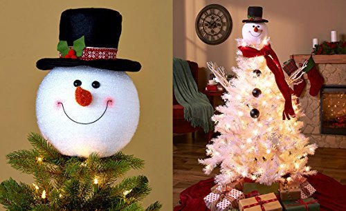 frosty snowman top hat christmas tree topper decor holiday winter wonderland decoration by knl store - Snowman Christmas Tree Decorations
