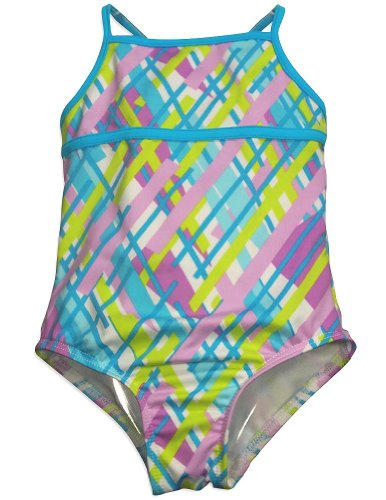 405 South by Anita G - Little Girls' One Piece Plaid Swimsuit, Turquoise, Lavender 31017-5
