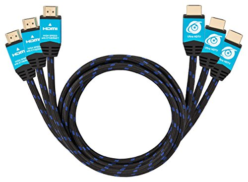 "Price comparison product image Ultra HDTV 4K HDMI Cable 3x 6.5 Feet | HDMI 2.0b, 4K at full 60Hz (no ""stuttering""), 18Gbps, HDR, 3D"