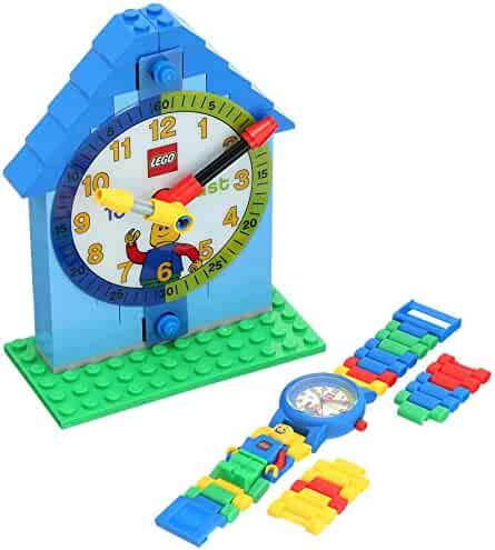 LEGO Time Teacher Blue Kids Minifigure Link Buildable Watch, Constructible Clock and Activity Cards | blue/green | plastic | 28mm case diameter| analog quartz | boy girl | official