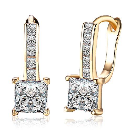 Dainty 14K Gold Cubic Zirconia Small Diamond Hoop Earrings For Women Girls Crystal Rhinestone CZ Zircon Studs Leverback - 14k Gold Hoop Dangle Earrings