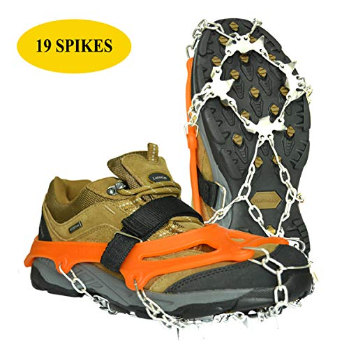 Lamsion Ice Cleats Crampons Traction Snow Grips for Shoes Boots Women Men Anti Slip 19 Snow Spikes for Walking Climbing Jogging Hiking Mountaineering (Orange, Medium)
