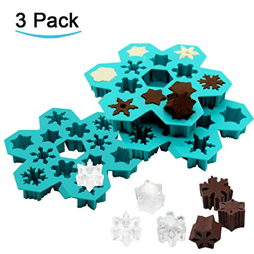 Snowflake Ice Cube Trays, Easy Release Silicone Ice Mold Create 6 Different Snow Flake Ice Cubes for Cocktail 3D Christmas Candy Chocolate Mold ATOZEDO Ice Cube Molds Dishwasher Microwave Safe(3 Pack)