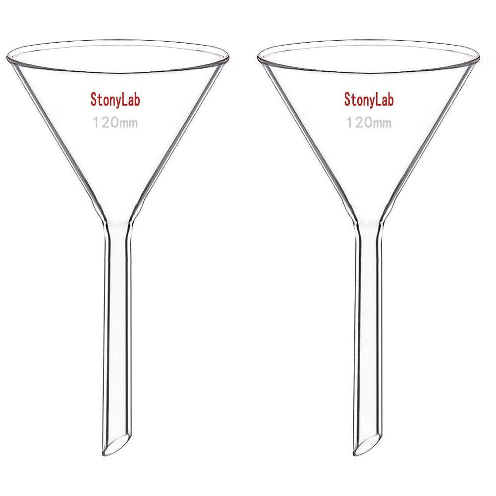 120mm Diameter 120mm Stem Length StonyLab 2-Pack Glass Heavy Wall Funnel Borosilicate Glass Funnel