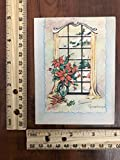 Vintage Greeting Card Merry Christmas Poinsettia Window Looking Outside~114204