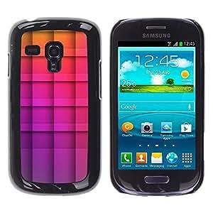 Be Good Phone Accessory // Dura Cáscara cubierta Protectora Caso Carcasa Funda de Protección para Samsung Galaxy S3 MINI NOT REGULAR! I8190 I8190N // polygon purple yellow checkered