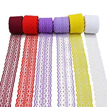 3 Rolls 10 Yards Floral Lace Ribbon Lace Trim Webbing Fabric for DIY Jewelry Making Craft Clothes Accessories Gift Wrapping Lavender