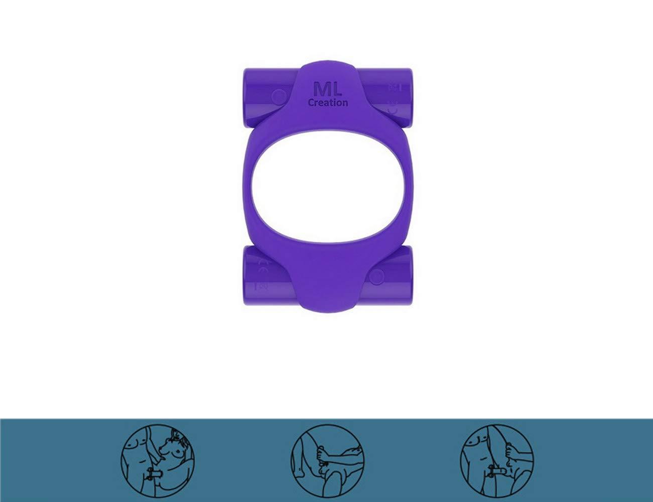 Männer Leistungsstarke Ring Wiederaufladbare Massage Ring 10 Frequenz Dual Motor für Finger Wasserdichte Lila