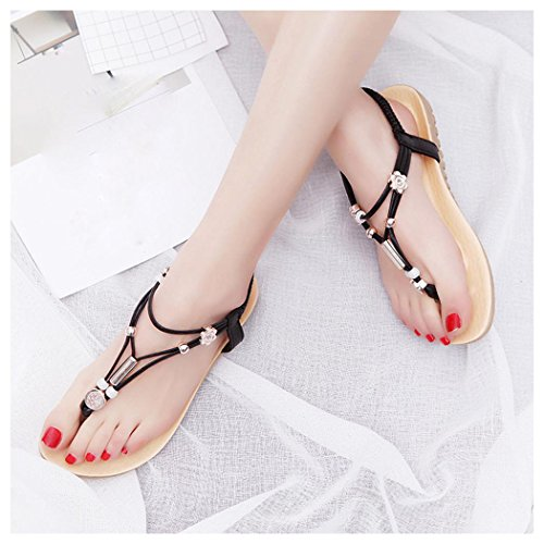 Shoes Summer Ankle Sandals Flops Inkach Women Flat Bohemia Black Strap CwAn8HBqv