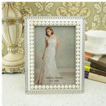 Graces Dawn 5x7 Inch Photo Opening White Pearls with Crystals Picture (Grace White Pearl)