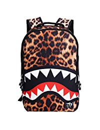Smartstar Unisex Vivid 3D Shark with Leopard Print Polyester School Backpack Hiking Spotring Touring Daypacks - Yellow