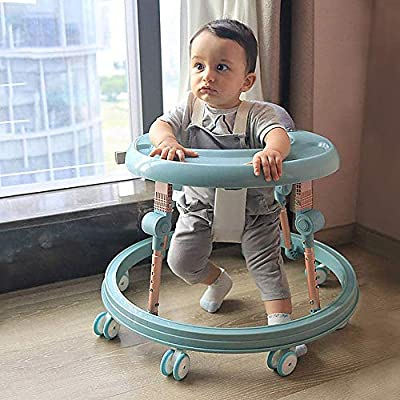 Baby Walker Multi-Function with Tray, 7 Heights Adjustable, 8 Wheels Anti-Rollover for 6-18 Months Baby, Prevent O-Legs Folding Walker: Sports & Outdoors