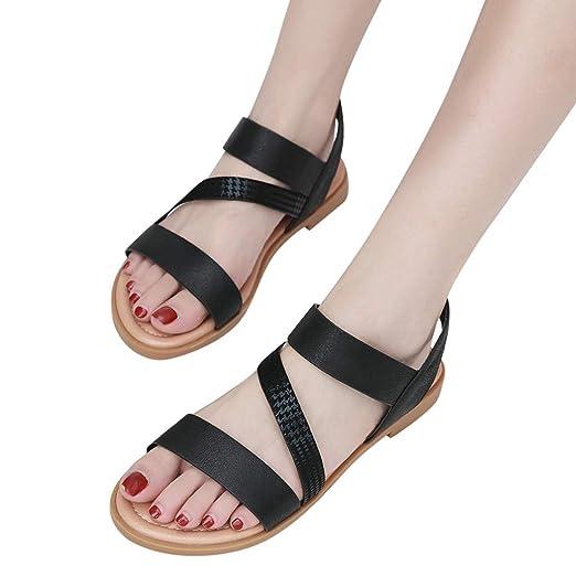 3f5db31ce8e99 Women Flat Sandals, Fineser Women Girls Round Toe Casual Roma Solid ...