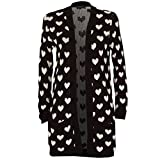 RM Fashions Womens Long Sleeve Chunky Knitted Heart Print Cardigan Sweater (S-3X)