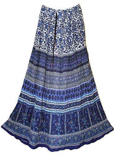 Womens Indian Crinkle Broomstick Gypsy Long Skirt Blu Jaal (Broomstick Multi Skirt)