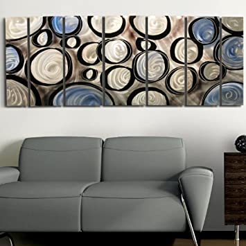 Amazon.com Silver Charcoal Grey Blue u0026 Black Wall Panel - Metal Wall Art Decor Sculpture Painting - Rains Of Blue by Jon Allen Home u0026 Kitchen & Amazon.com: Silver Charcoal Grey Blue u0026 Black Wall Panel - Metal ...