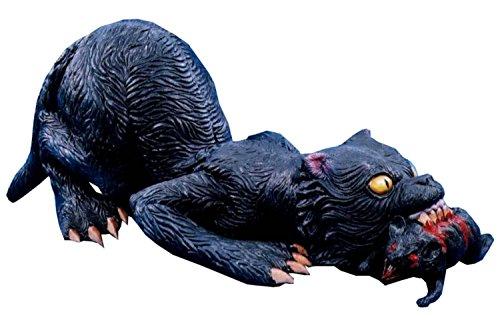 Latex Black GIANT VAMPIRE CAT with RAT Haunted House Halloween Horror Prop-RARE