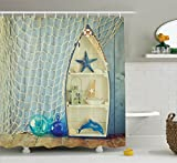 Nautical Shower Curtains Ambesonne Blue Shower Curtain Nautical Decor by, Boat Standing against the Wall with Other Aquatic Objects Bathroom Curtains Blue Sea Maritime Theme Picture, Fabric Set with Hooks, Blue Beige