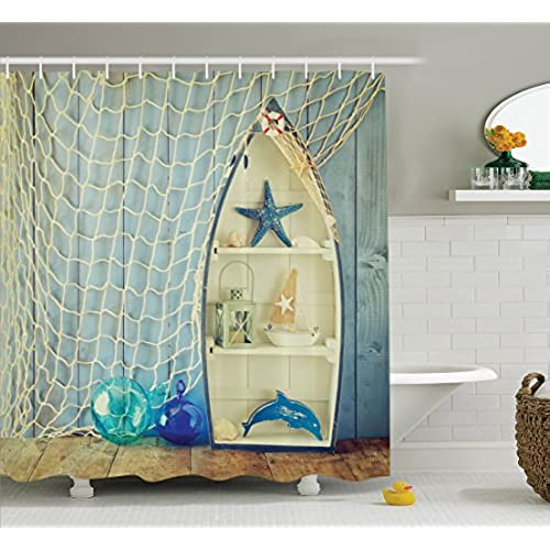 Ambesonne Blue Shower Curtain Nautical Decor, Boat Standing Against The  Wall With Other Aquatic Objects Bathroom Curtains Blue Sea Maritime Theme  Picture, ...