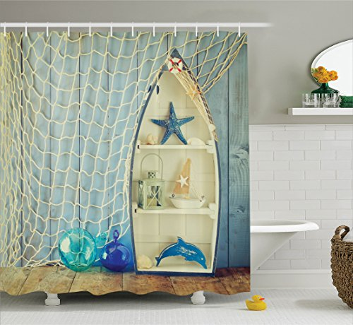Ambesonne Blue Shower Curtain Nautical Decor, Boat Standing Against The Wall with Other Aquatic Objects Bathroom Curtains Blue Sea Maritime Theme Picture, Fabric Set with Hooks, Blue -