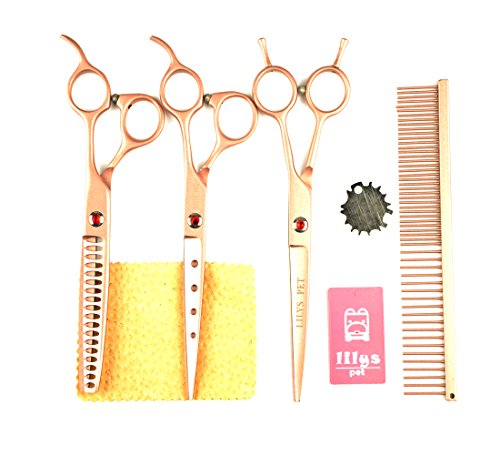 """LILYS PET Professional PET Dog Grooming Scissors Cutting&Curved&Thinning Shears,Round Hole Design, Shark Teeth Thinning Scissor (7"""", Gold)"""