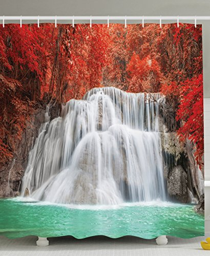 Ambesonne Art Decor Collection, Waterfall Spring Leaves Nature Panoramic Scenery View Picture Prints, Polyester Fabric Bathroom Shower Curtain Set with Hooks, Red/Green/White (Curtains Fabric Designer Shower)