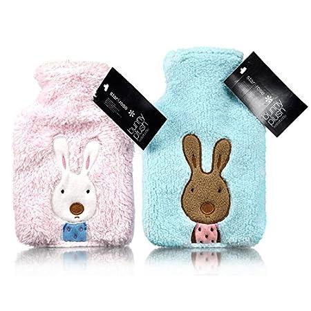Plush Fleece Appliqué Bunny Mini 600ml Hot Water Bottle: Pink or Blue (Pink) S&R