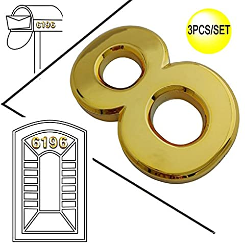 Magicdo 3 Pieces of Number 8, 2-3/4 Inch Modern Golden House Numbers, Adhesive Mailbox Number, 3D Metal Shining Reflective Number, Self-Stick Number for Door, House, Street Signs and Mailbox Decor