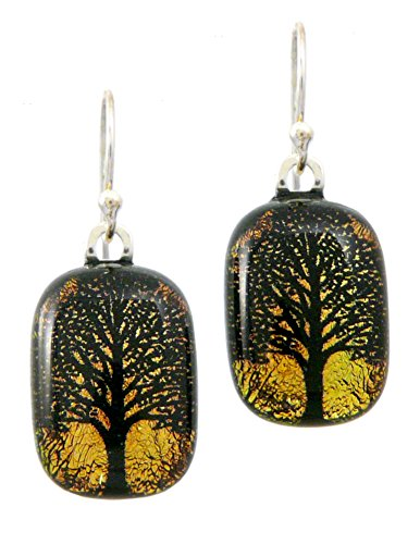 Etching Dichroic Glass - Tree of Life Dichroic Glass Earrings