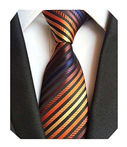 (Secdtie Men's Narrow Stripe Pattern Tie Orange Navy Red Bronze Necktie LUD49)