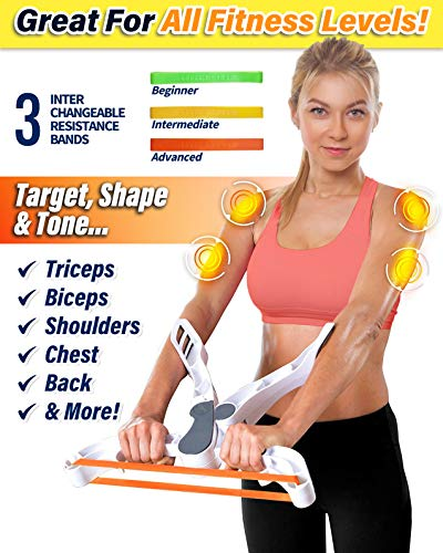 Poppin Kicks Arm Machine Workout System with 3 Resistance Training Bands Fitness Equipment for Women Tones Strengthens Arms Biceps Shoulders Chest New Generation