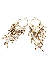 Coromose Bohemian Fringed Long Section Of Big Beads Pendant Drop Earrings