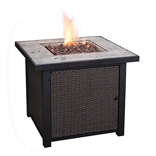 Cheap Peaktop HF25601AA Propane Fire Pits, 30″ x 30″ x 25″, Dark Wood