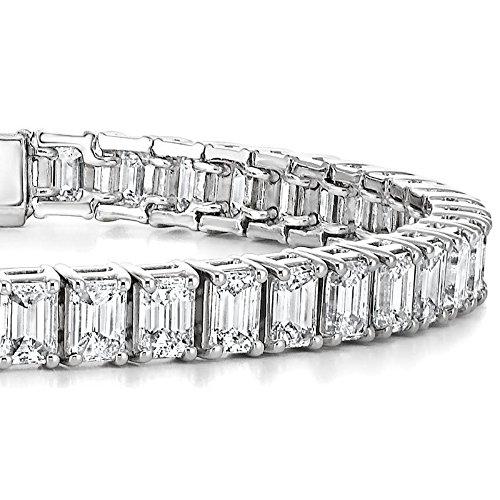 Or blanc 18K Baguette Diamant Bracelet de tennis