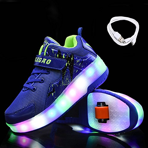 Girls Sneakers Chic Skate up two Sources Wheeled LED Roller Boys Shoes Rechargeable Light Blue Wheels qqRfPUE