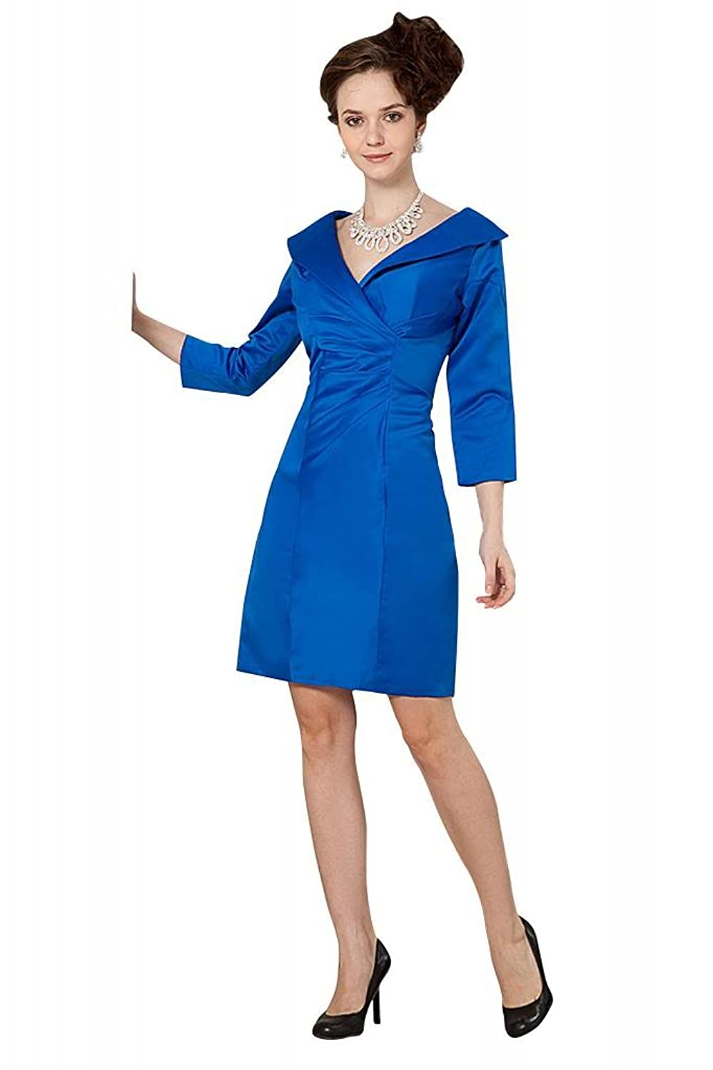 GEORGE BRIDE Blue Short Long Sleeves Evening Dress