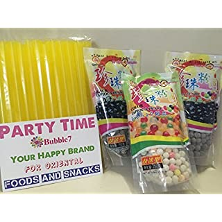 """3 Packs Total of BOBA Tapioca Pearl """"Bubble Tea Ingredients"""", 2 packs of (Black), Plus 1 Pack of (Color) Pearl Bubble,With Additonal 1 Pack of 50 BOBA STRAWs (Variety Color)"""