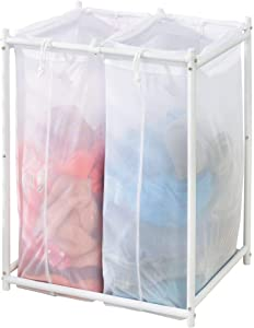 mDesign Laundry Hamper Organizer/Sorter with Metal Stand and 2 Removable Large Mesh Bags - Portable - Double Hamper Design - White
