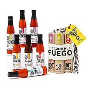 'The Good Hurt Fuego' Hot Sauce Sampler Set by Thoughtfully: A Collection of 7 Spicy Hot Sauces from around the World