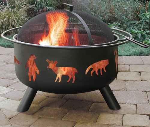 BS Wildlife Fire Pit - Outdoor fire pit with spark screen and poker Wildlife cutouts glow for a unique nighttime ambience Black finish for less cleaning - patio, outdoor-decor, fire-pits-outdoor-fireplaces - 512EBzD1PqL -