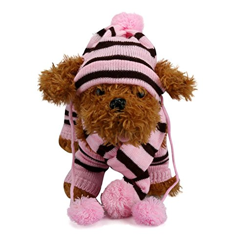 Outtop Dog Hat Scarf Leg Warmer Pet Clothes 6 PC/Set For Small and Medium Dogs (S, Pink) Dog Hat Set