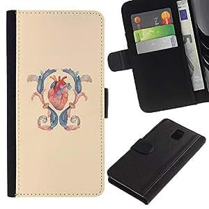 KingStore / Leather Etui en cuir / Samsung Galaxy Note 3 III / Corazón Anatomía Cirugía Azul Amarillo
