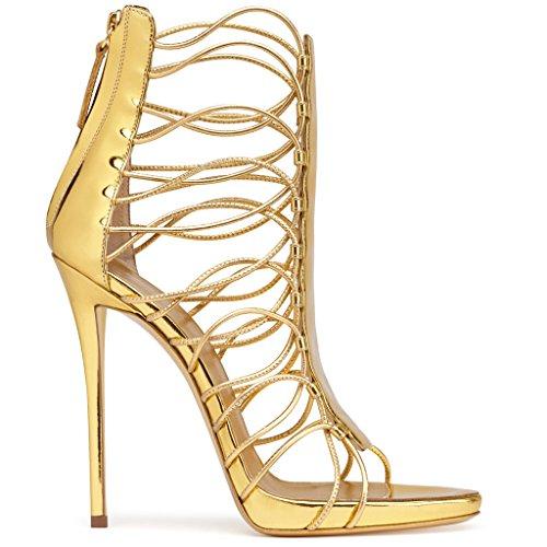 La Vendajes De Mujeres De De Cremallera Tacones Primavera Las Tobillo Verano Altos Zapatos Brillante Tarde Kaitzen Dorado Plataforma Partido Moda Sandalias La Corte Bomba nYHCqdwY