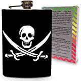 Pirate Jolly Roger Flag Flask Stainless Steel 8oz Silver Metal Hip Flasks Skull & Crossbones for Drinking Whiskey Vodka Gin Liquor Spirits - Colorful Gift Box