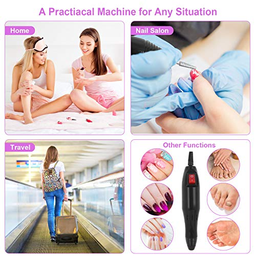 SPTHTHHPY Electric Nail Drill Machine and Tungsten Carbide Nail Drill Bits,Professional Nail Drill Kit for Removing Acrylic Nails Gel Nails,Manicure Pedicure Polishing Shaping Buffing Tools