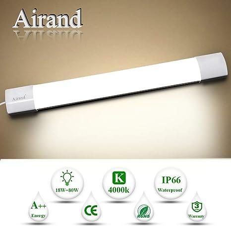 Luz de tubo LED, Airand 60CM 18W LED IP66 Luminaria de Taller 4000K Luz de Techo Impermeable Lámpara LED Blanca Natural para Garaje Oficina ...