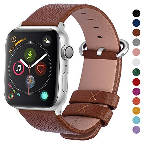 Fullmosa Yan Calf Leather Strap Replacement for Apple iWatch Series 3 Series 2 Series 1 Sport and Edition 2015 2016 2017 38 mm Brown